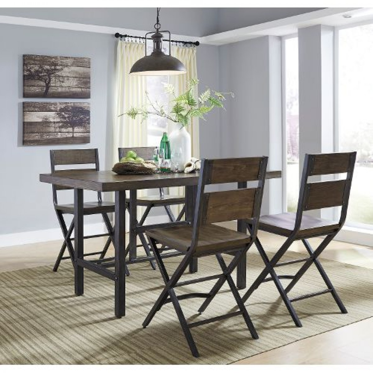 Cherry Wood U0026 Metal Furnished 5 Piece Counter Height Dining Set