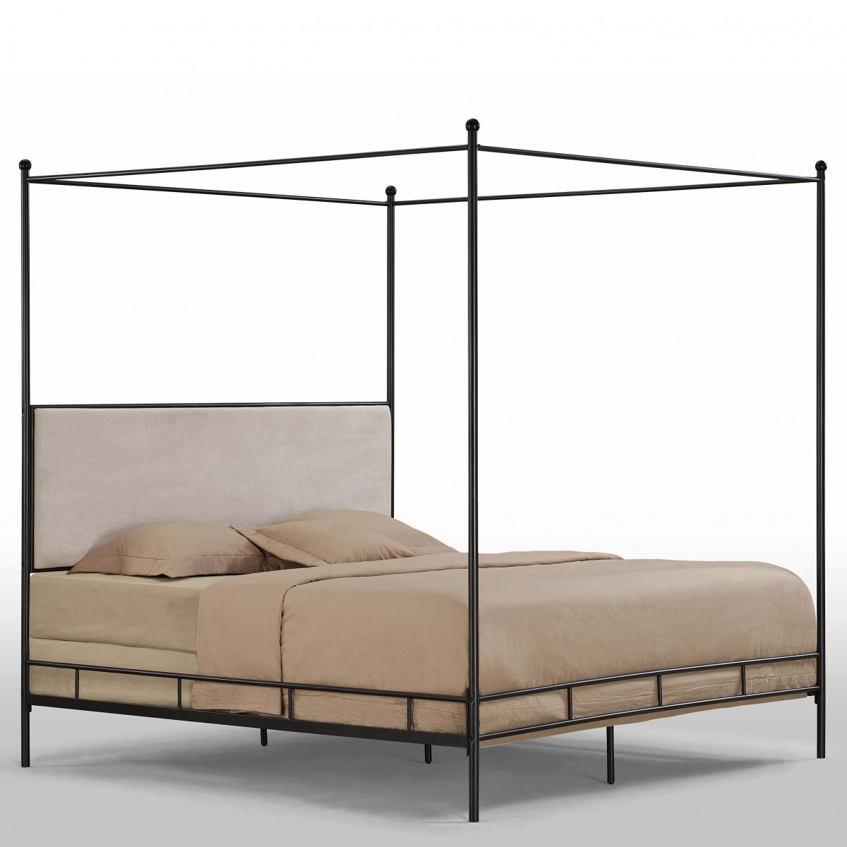 Metal canopy bed gold bed frame alexander rose gold bed for Brass canopy bed frame