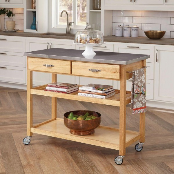 Kitchen Cart With Stainless Top
