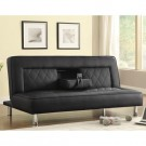 Leatherette Sofa Bed With Cup Holders And Drop Console