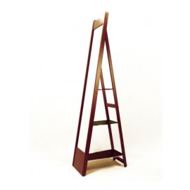 Soft-cherry cheval mirror, shelves