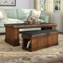 Kings Marbled Top Coffee Table with Ottoman