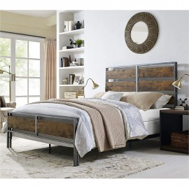 Queen sized metal- wooden bed