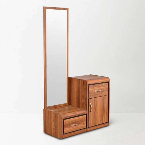 Teak colored 3 drawer dresser, with mirror