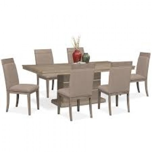 Pedestal Table And 6 Side Chairs Set - Graystone