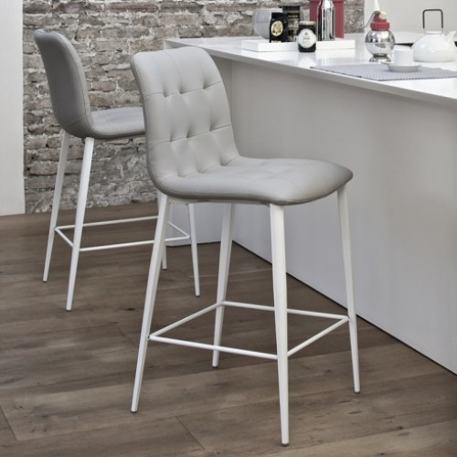 White Gray Finished Bar Stool