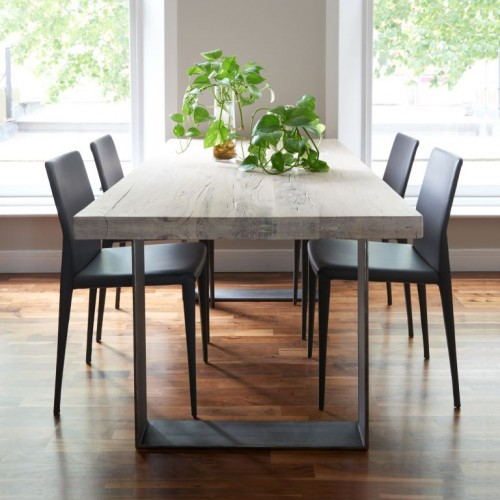 Metal Dinning Table And 4 Solid Wood Chairs