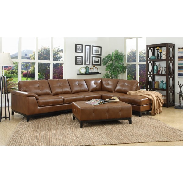 Emerald 3-piece leathered & fabric living room set