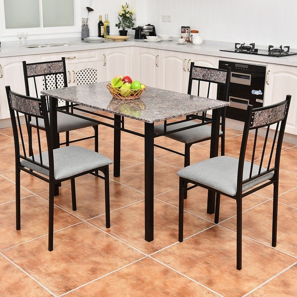 Faux Marbled-Top 5-Piece Dinning Room Set With 4 Breakfast Chairs