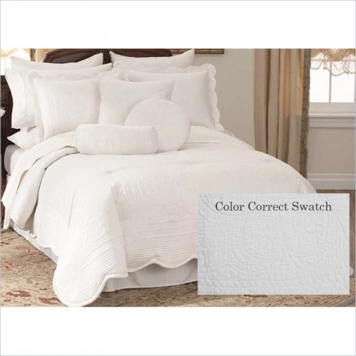 PEM America French Tile Quilt Set in White