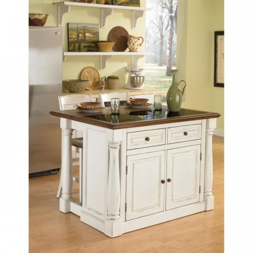 Distressed Kitchen Island Finished In White